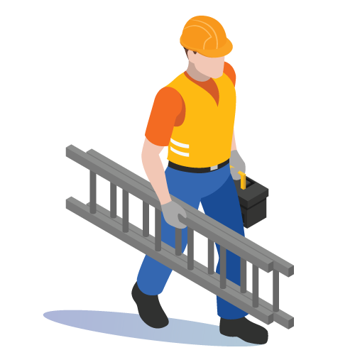 Feltfab builders roofers Newport South Wales construction worker graphic